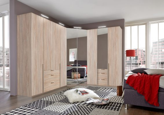 corner wardrobe in wood and mirror with drawers